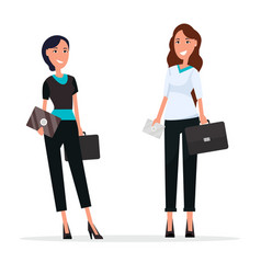 Two cheerful women with black suitcases and cards vector