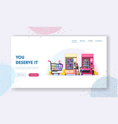 Vending machine food landing page template tiny vector