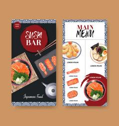 Watercolor design sushi menu for restaurant vector