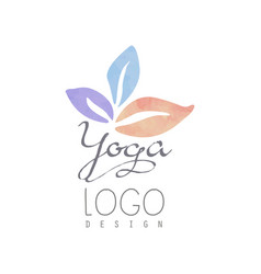 watercolor logo template for yoga class or vector image