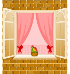 Window frame and curtains vector