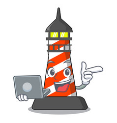 With laptop lighthouse character cartoon style vector