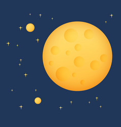 Yellow moon with stars in space vector