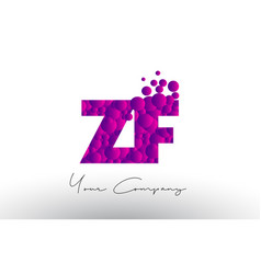 zf z f dots letter logo with purple bubbles vector image