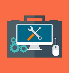 Computer service concept Flat design Isolated on vector image