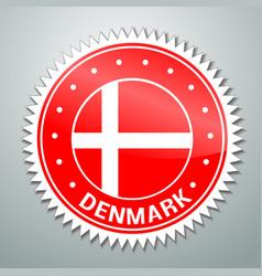 Danish flag label vector image vector image