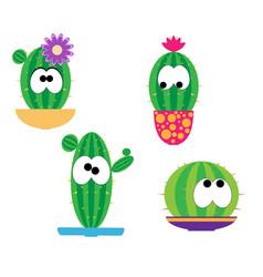 funny cartoon cacti vector image vector image