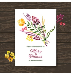 Wedding invitation card with watercolor floral vector