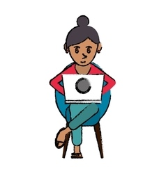 cartoon beutiful girl using laptop sitting vector image