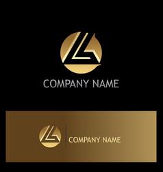 gold round letter l logo vector image