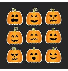 Halloween pumpkins flat stikers set vector image