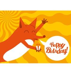 happy birthday fox vector image vector image