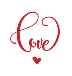 phrase love in heart shape vector image vector image