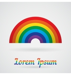 Rainbow with a shadow over white vector image