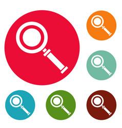 cursor magnifier icons circle set vector image vector image