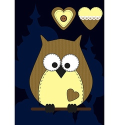 Cute cartoon owl in flat design for greeting card vector image vector image