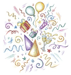 Hand drawn of celebration elements vector