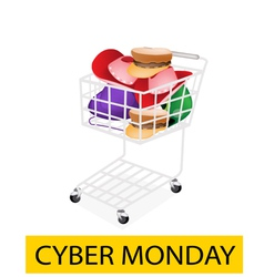 Hats and Helmet in Cyber Monday Shopping Cart vector image vector image