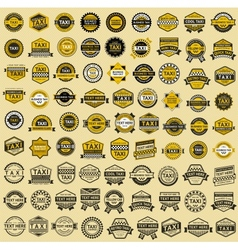 Taxi insignia - vintage style Big set vector image