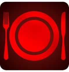 with plate fork and knife restaurant sign vector image