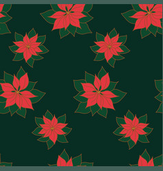 xmas seamless pattern with poinsettia star plant vector image