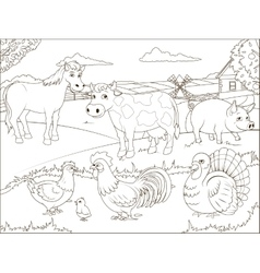 Coloring book farm cartoon educational vector image
