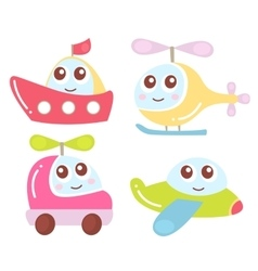 Cute kids transport collection plane helicopter vector image