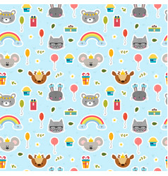 cute seamless pattern with cartoon animals happy vector image vector image