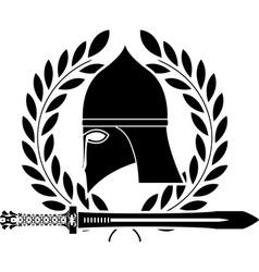 fantasy barbarian sword and helmet vector image vector image