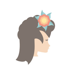 profile woman flower romantic image vector image vector image