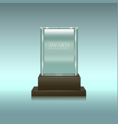 realistic glass or crystal prize rectangle vector image