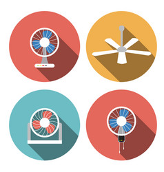 Set of fan icons in flat style object vector
