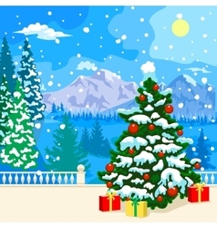 Winter snowy landscape New Year card vector image vector image