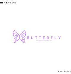 abstract butterfly logo line art vector image