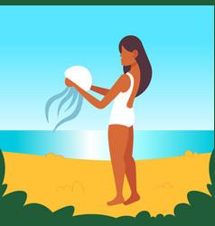 african american girl holding jellyfish danger vector image