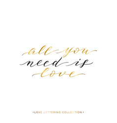 all you need is love - gold text isolated vector image