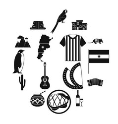 Argentina set icons vector
