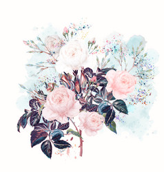 beautiful rose flowers in watercolor style vector image