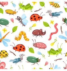 beetle pattern isolated bugs ladybug dragonfly vector image