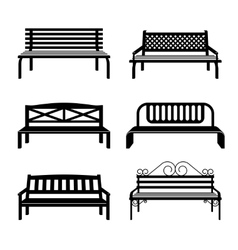 Benches Bench black silhouettes vector