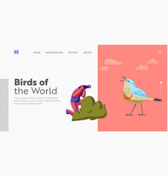 Birds watching eco tourism landing page template vector