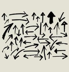 black arrow doodle sketch element vector image