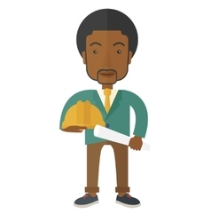 Black Young construction worker holding hard hat vector