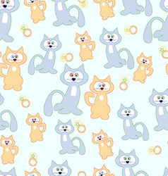 Blue cats and beige to green background Pattern vector