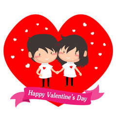 Boy and girl love for valentine vector