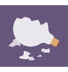 Broken light bulb against purple background vector image