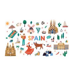 bundle symbols traditional spanish culture vector image