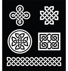 Celtic knots patterns on black background vector image