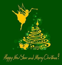 Christmas and New Year card with fairy vector