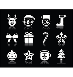 Christmas white icons with shadow set on black vector